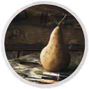 The Painter's Pear Round Beach Towel