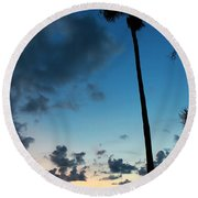 The Palm Majestic Sunset Beach Tarpon Springs Florida Round Beach Towel