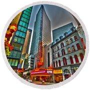 The Paramount Center And Opera House In Boston Round Beach Towel