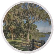 Round Beach Towel featuring the photograph The Park by Jane Luxton