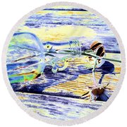 Lay The Past Down Behind Me Round Beach Towel