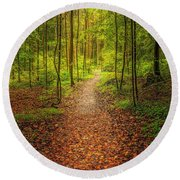 Round Beach Towel featuring the photograph The Path by Maciej Markiewicz