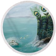 The Peacock Cliffs Round Beach Towel
