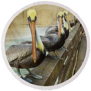 The Pelican Gang Round Beach Towel