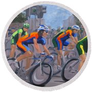 Round Beach Towel featuring the painting The Peloton by Karen Ilari
