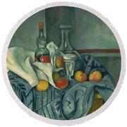 The Peppermint Bottle Round Beach Towel by Paul Cezanne