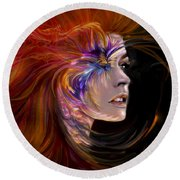 The Phoenix  Fire Flames And Rebirth Round Beach Towel