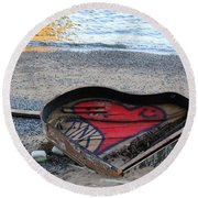 The Piano In New York Harbor Round Beach Towel by Dora Sofia Caputo Photographic Art and Design