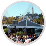 The Pier 23 Cafe Overlooking San Francisco Coit Tower 5d25946 Round Beach Towel