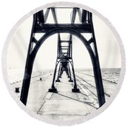 The Pier At South Haven Round Beach Towel