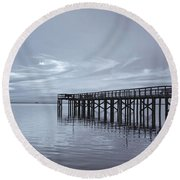 The Pier Round Beach Towel by Kim Hojnacki