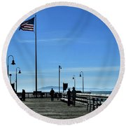 Round Beach Towel featuring the photograph The Pier by Michael Gordon