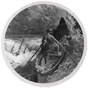 The Pilot Faints Scene From 'the Rime Of The Ancient Mariner' By S.t. Coleridge Round Beach Towel