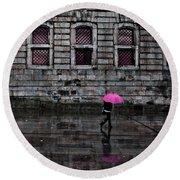 The Pink Umbrella Round Beach Towel