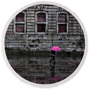 The Pink Umbrella Round Beach Towel
