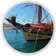 The Pirate Ship  Round Beach Towel