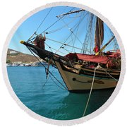 The Pirate Ship  Round Beach Towel