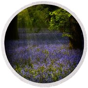 Round Beach Towel featuring the photograph The Pixie's Bluebell Patch by Chris Lord