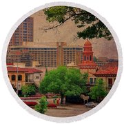 The Plaza - Kansas City Missouri Round Beach Towel by Liane Wright