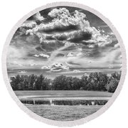 Round Beach Towel featuring the photograph The Pond by Howard Salmon