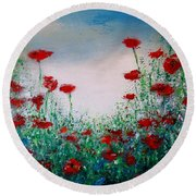The Poppy Field Round Beach Towel