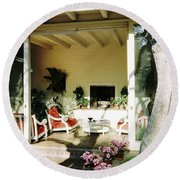 The Porch Of Mr. And Mrs. George L. Elkins Round Beach Towel