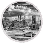 Round Beach Towel featuring the photograph The Power Station by Howard Salmon