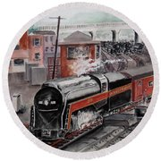 The Powhatan Arrow Roars Through The Yards Into Portmouth Round Beach Towel by Frank Hunter