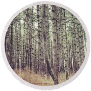 The Preaching Of The Pines Round Beach Towel by Kerri Farley