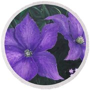 Round Beach Towel featuring the painting The President Clematis by Sharon Duguay
