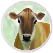 The Pretty Jersey Cow  Round Beach Towel