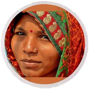 The Pride Of Indian Womenhood Round Beach Towel