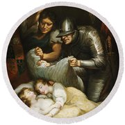 The Princes In The Tower Oil On Canvas Round Beach Towel by James Northcote