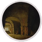 The Prisoner, C.1787-90 Oil On Canvas Round Beach Towel by Joseph Wright of Derby