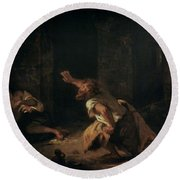 The Prisoner Of Chillon Round Beach Towel by Ferdinand Victor Eugene Delacroix