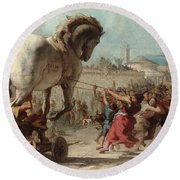 The Procession Of The Trojan Horse Into Troy Round Beach Towel