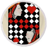Round Beach Towel featuring the painting The Queen On Her Card by Carol Jacobs