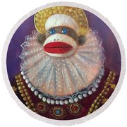 Round Beach Towel featuring the painting The Proud Queen by Randol Burns
