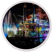 The Mark Twain Disneyland Steamboat  Round Beach Towel