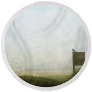 The Raven And The Beach Round Beach Towel