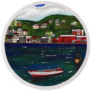The Red And White Fishing Boat Carenage Grenada Round Beach Towel