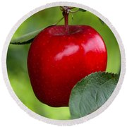 The Red Apple Round Beach Towel