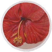 The Red Hibiscus In Dew Time Round Beach Towel by Carol Wisniewski