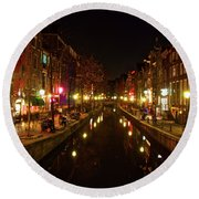 The Red Lights Of Amsterdam Round Beach Towel