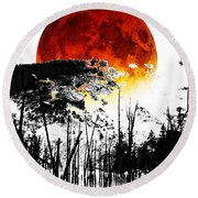The Red Moon - Landscape Art By Sharon Cummings Round Beach Towel
