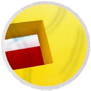 the Red Rectangle Round Beach Towel by Prakash Ghai