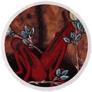The Red Shoes Round Beach Towel