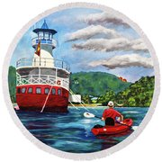 Out Kayaking Round Beach Towel
