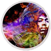 The Return Of Jimi Hendrix Round Beach Towel