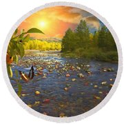 The Riches Of Life Round Beach Towel by Liane Wright